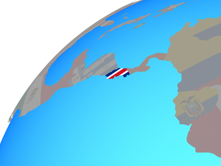 Costa Rica with embedded national flag on globe. 3D illustration.
