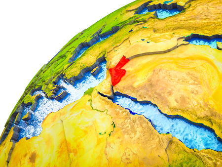 Jordan on 3D Earth model with visible country borders. 3D illustration.