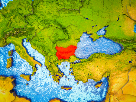 Bulgaria on model of 3D Earth with blue oceans and divided countries. 3D illustration.