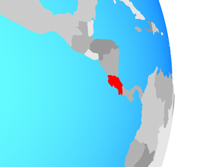 Costa Rica on simple political globe. 3D illustration.