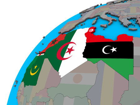 Maghreb region with national flags on 3D globe. 3D illustration.