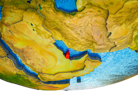 Qatar on 3D Earth with divided countries and watery oceans. 3D illustration.