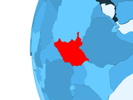 3D render of South Sudan in red on blue political globe with transparent oceans. 3D illustration.