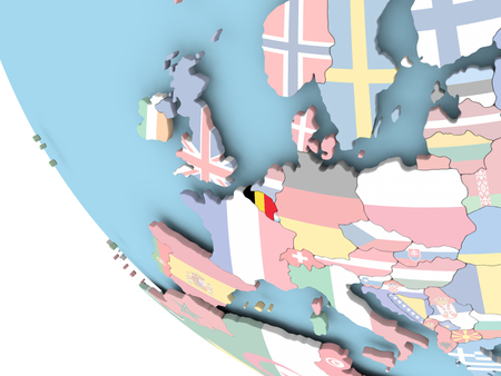 Belgium on bright political globe with embedded flag. 3D illustration.