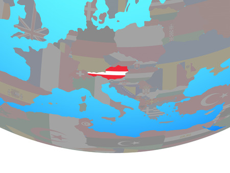 Austria with national flag on simple political globe. 3D illustration.