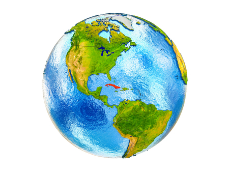 Cuba on 3D model of Earth with country borders and water in oceans. 3D illustration isolated on white background.