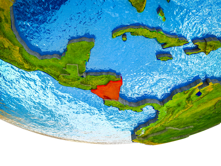Nicaragua on 3D Earth with divided countries and watery oceans. 3D illustration.
