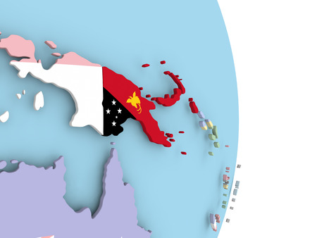 Papua New Guinea with embedded flag on globe. 3D illustration.