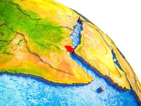 Djibouti Highlighted on 3D Earth model with water and visible country borders. 3D illustration.