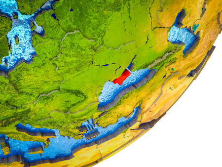 Crimea on 3D model of Earth with water and divided countries. 3D illustration. Stock Photo