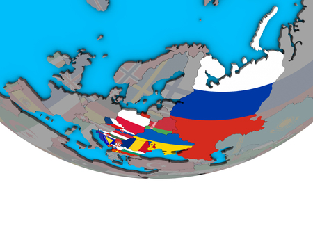 Eastern Europe with embedded national flags on simple political 3D globe. 3D illustration.