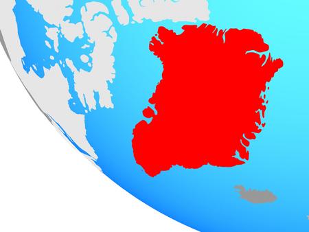 Greenland on simple globe. 3D illustration. Stockfoto