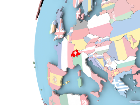 Switzerland on political globe with flag. 3D illustration. Banque d'images - 110188012