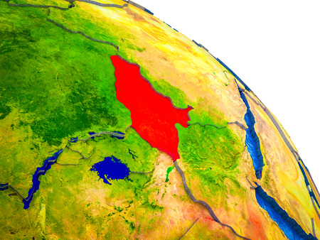 South Sudan Highlighted on 3D Earth model with water and visible country borders. 3D illustration. 스톡 콘텐츠