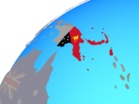 Papua New Guinea with embedded national flag on globe. 3D illustration.