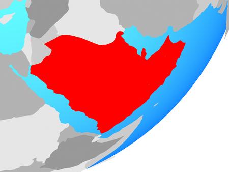 Arabia on blue political globe. 3D illustration. Stock fotó