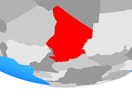 Chad on simple political globe. 3D illustration.