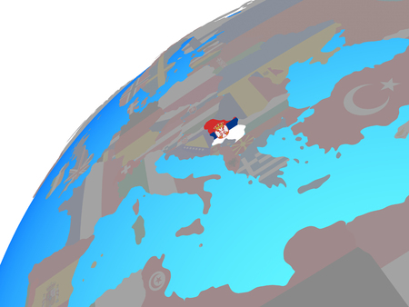 Serbia with embedded national flag on globe. 3D illustration.