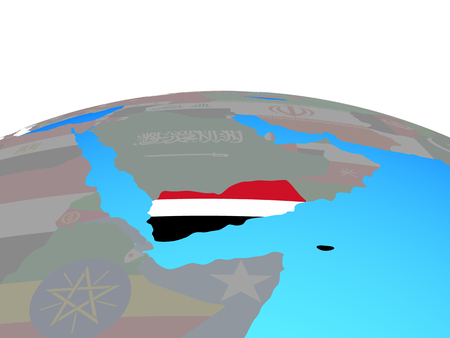 Yemen with national flag on political globe. 3D illustration.