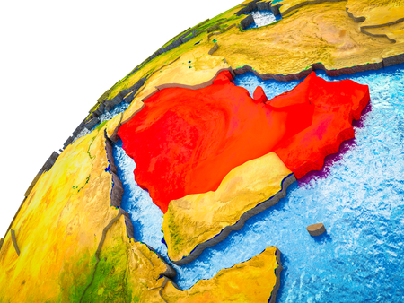Arabia on 3D Earth model with visible country borders. 3D illustration. Stock Photo