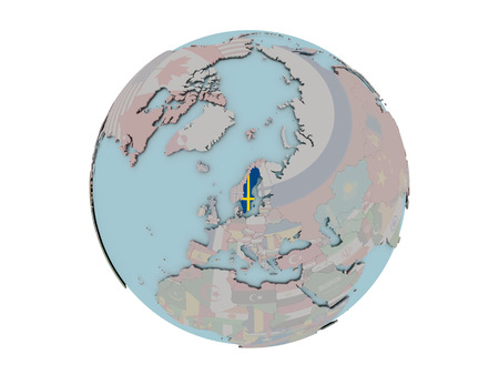 Sweden on political globe with embedded flags. 3D illustration isolated on white background.