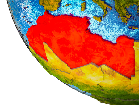 Maghreb region on model of Earth with country borders and blue oceans with waves. 3D illustration.