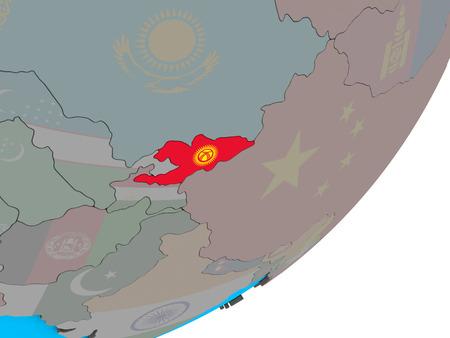 Kyrgyzstan with national flag on blue political 3D globe. 3D illustration.