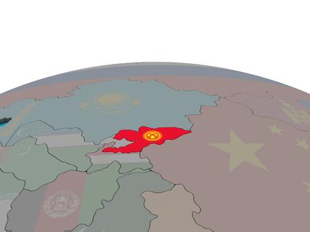 Kyrgyzstan with embedded national flag on political 3D globe. 3D illustration.