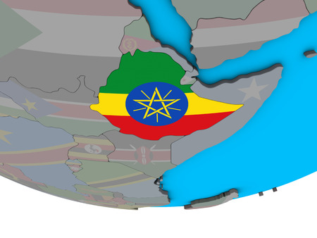 Ethiopia with embedded national flag on simple political 3D globe. 3D illustration. Stock Photo