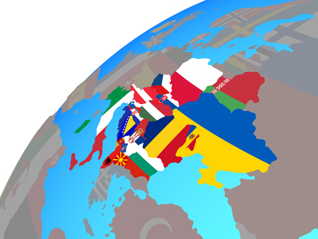 CEI countries with embedded national flags on globe. 3D illustration. Stock Photo