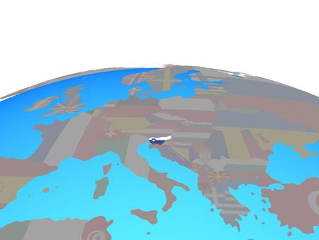 Slovenia with national flag on political globe. 3D illustration.