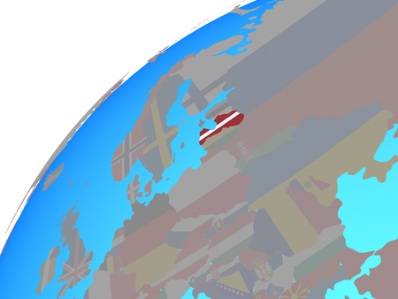 Latvia with embedded national flag on globe. 3D illustration. Stockfoto