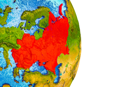 Eastern Europe on 3D model of Earth with divided countries and blue oceans. 3D illustration. Stock Photo