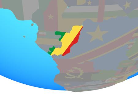Congo with national flag on simple political globe. 3D illustration. Standard-Bild - 110188607