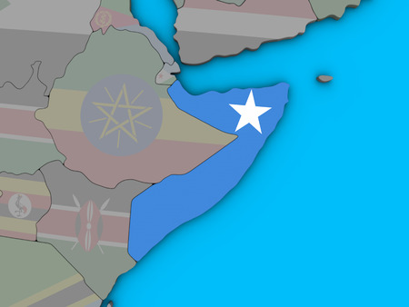 Somalia with embedded national flag on blue political 3D globe. 3D illustration. Stockfoto