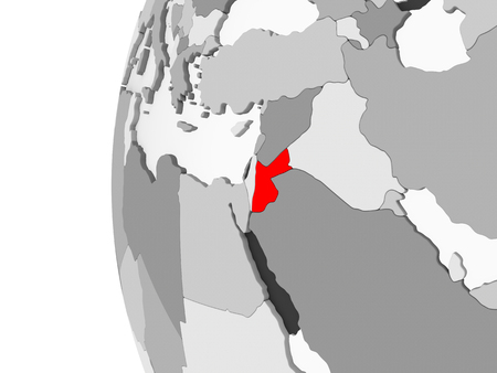 Jordan highlighted on grey 3D model of political globe with transparent oceans. 3D illustration. Stockfoto