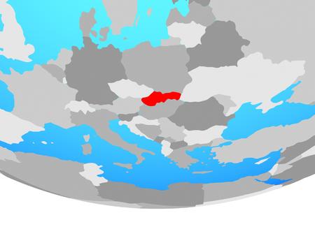 Slovakia on simple political globe. 3D illustration.