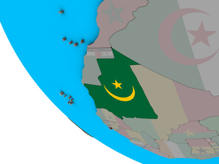 Mauritania with embedded national flag on simple 3D globe. 3D illustration. Фото со стока