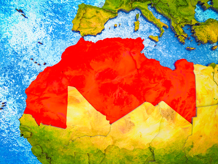 Maghreb region on model of 3D Earth with blue oceans and divided countries. 3D illustration. 写真素材