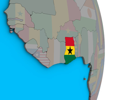Ghana with embedded national flag on simple political 3D globe. 3D illustration.