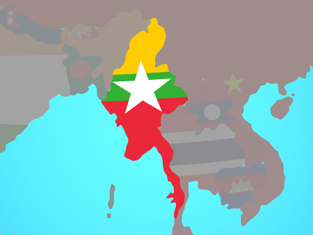 Myanmar with national flag on blue political globe. 3D illustration. Imagens
