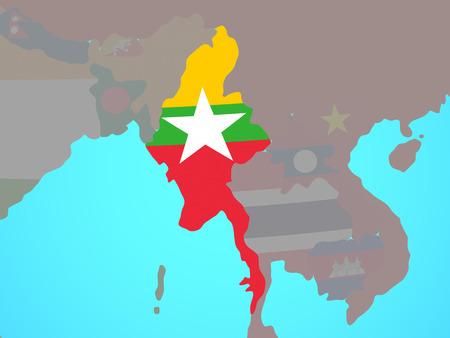 Myanmar with national flag on blue political globe. 3D illustration. Stock Photo