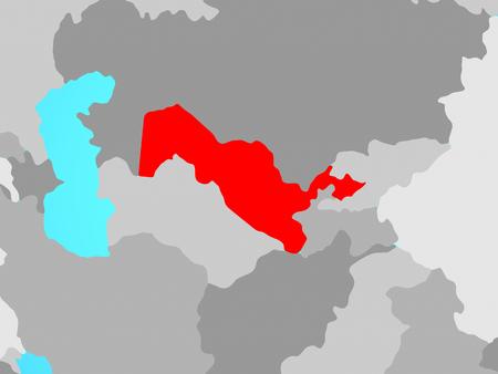 Uzbekistan on blue political globe. 3D illustration.