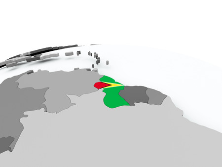 Guyana on grey political globe with embedded flag. 3D illustration. Stock Photo