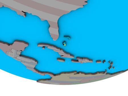 Bahamas with embedded national flag on simple political 3D globe. 3D illustration.