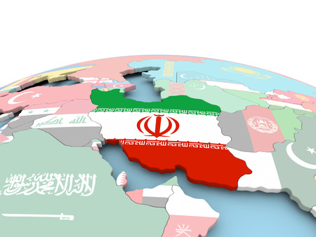 Iran on political globe with embedded flags. 3D illustration.