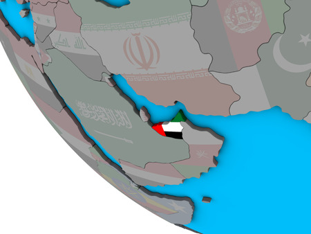 United Arab Emirates with embedded national flag on simple 3D globe. 3D illustration. Imagens