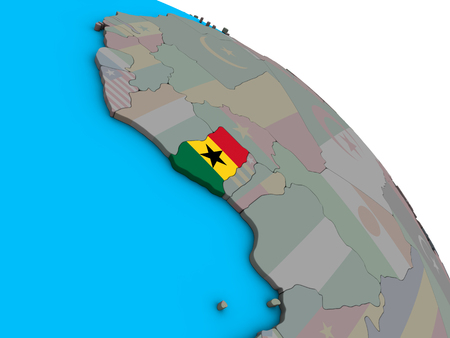 Ghana with embedded national flag on simple blue political 3D globe. 3D illustration.