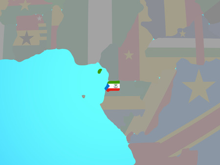 Equatorial Guinea with national flag on blue political globe. 3D illustration.