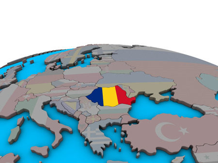 Romania with embedded national flag on political 3D globe. 3D illustration. Фото со стока